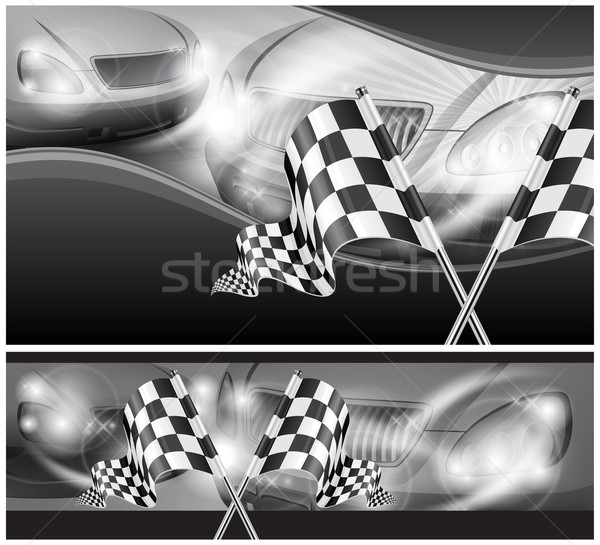 Checkered flags on auto background Stock photo © creatOR76