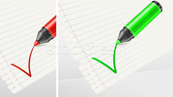 Green and red markers with check mark   Stock photo © creatOR76