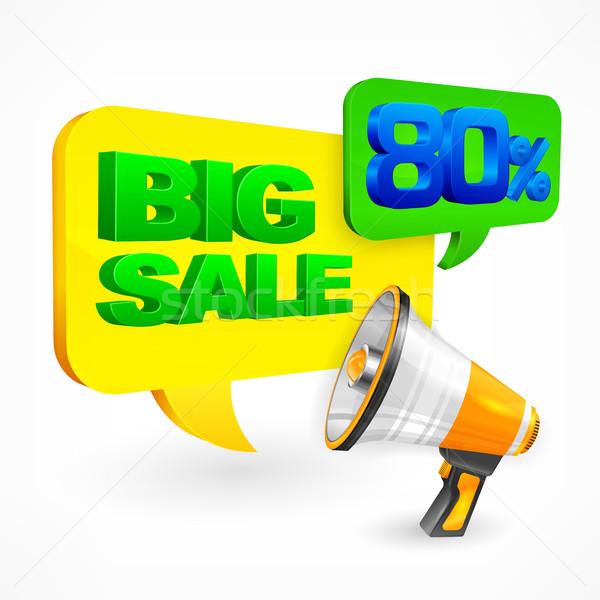 Grande venda megafone balão de fala compras Foto stock © creatOR76