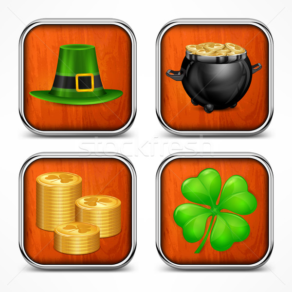 St. Patrick`s Day symbols on wooden Stock photo © creatOR76
