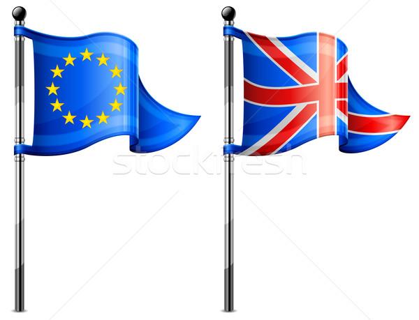 Euro & Britain flags Stock photo © creatOR76
