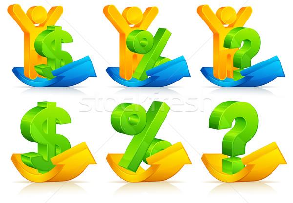 Symbol Pfeile Person Frage Prozent Dollarzeichen Stock foto © creatOR76