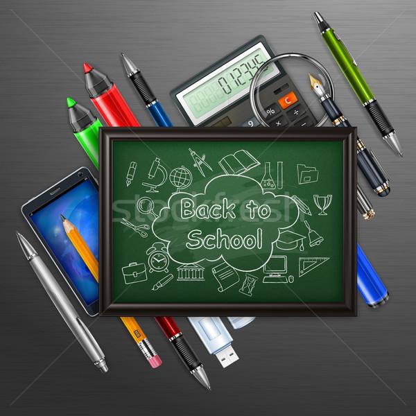 Istruzione lavagna sketch pen matita segno Foto d'archivio © creatOR76
