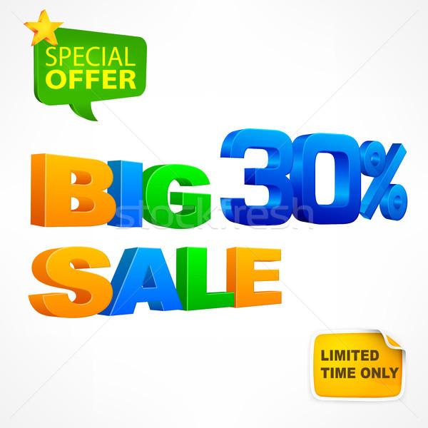 Nagy vásár felirat 30 százalék fehér Stock fotó © creatOR76