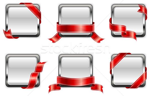 Fehér tér kitűző vörös szalag sport fekete Stock fotó © creatOR76