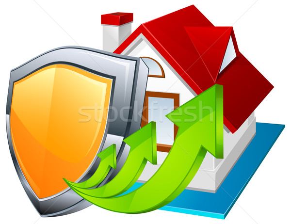 Védelem modell ház pajzs zöld nyilak Stock fotó © creatOR76