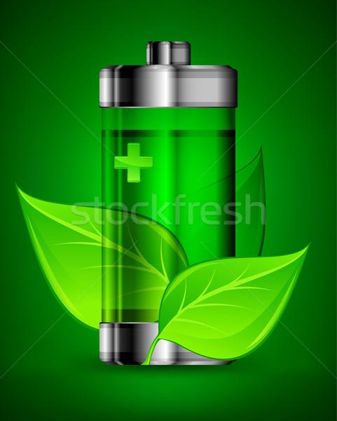 Pil yaprakları enerji yeşil yaprakları ekoloji teknoloji Stok fotoğraf © creatOR76