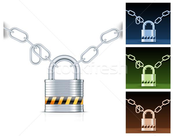 Metal łańcucha kłódki odizolowany biały blokady Zdjęcia stock © creatOR76