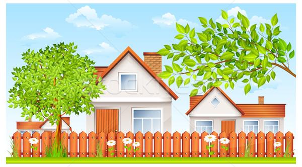 Kicsi ház kerítés kert vidéki táj virág Stock fotó © creatOR76