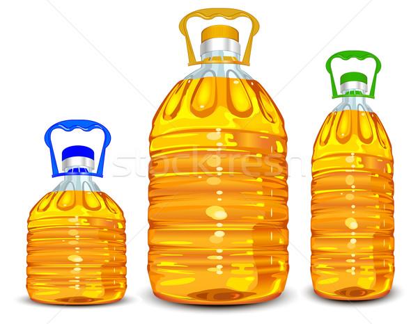 Pétrolières bouteilles trois différent taille gérer Photo stock © creatOR76
