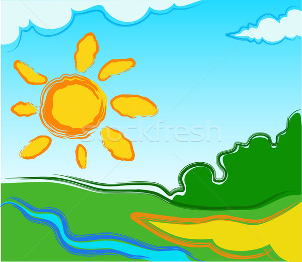 Vector landscape with sun Stock photo © creatOR76