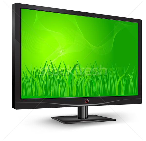контроля зеленая трава плазмы ЖК телевизор трава Сток-фото © creatOR76