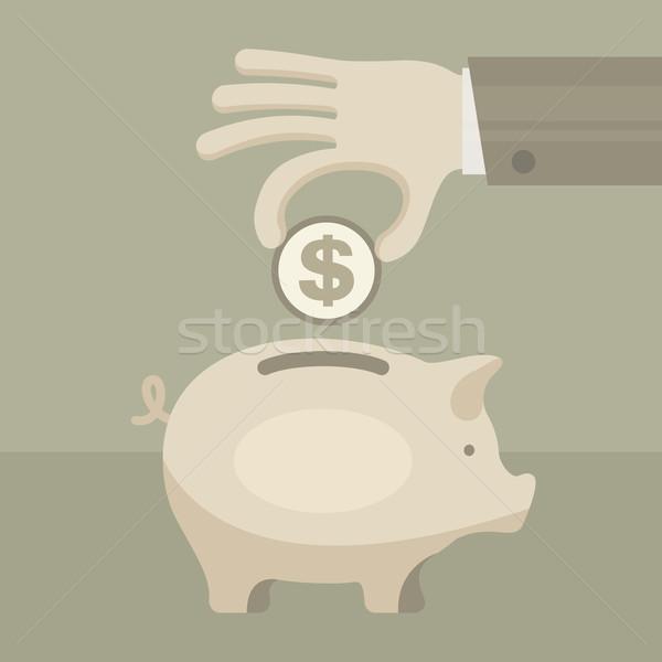 コイン 銀行 手 徳用 ビジネス ストックフォト © creatOR76