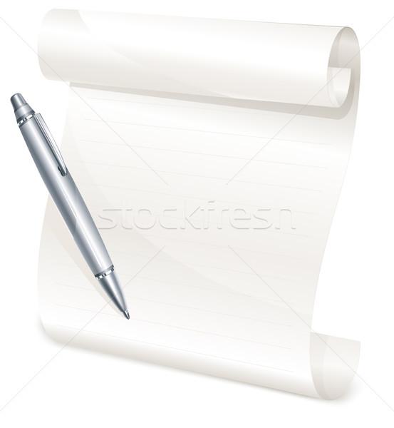 Zdjęcia stock: Przejdź · żółty · papieru · szary · pióro · odizolowany