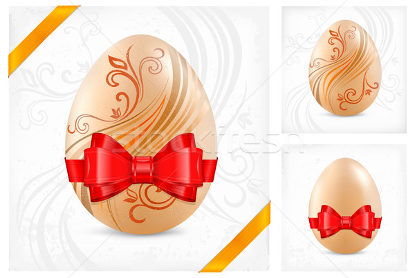 Decorated eggs with ribbon Stock photo © creatOR76