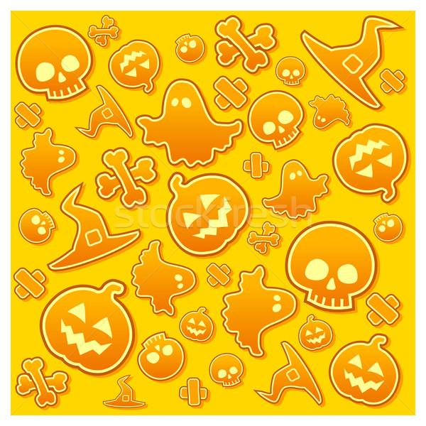 Halloween schedel pompoen bot hoed spook Stockfoto © creatOR76