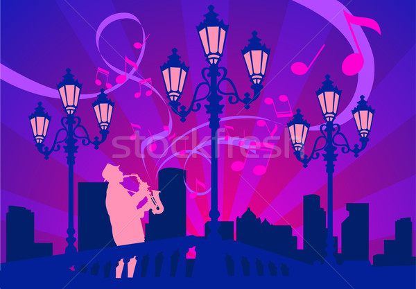 Diminuer lanternes ville lumière nuit star Photo stock © creatOR76