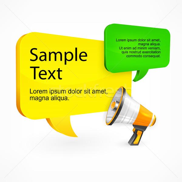речи пузырь текста мегафон рекламный белый дизайна Сток-фото © creatOR76