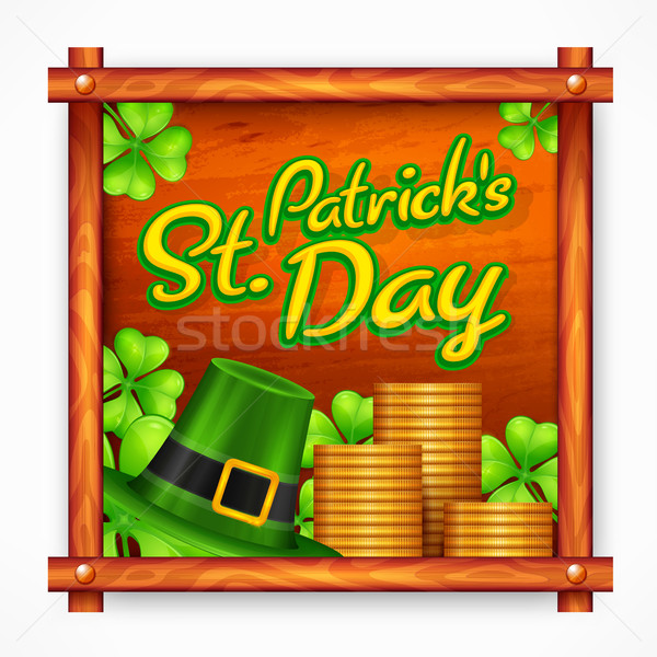 St. Patrick Day poster on wooden Stock photo © creatOR76