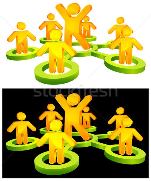бизнеса лидера команда круга интернет толпа Сток-фото © creatOR76