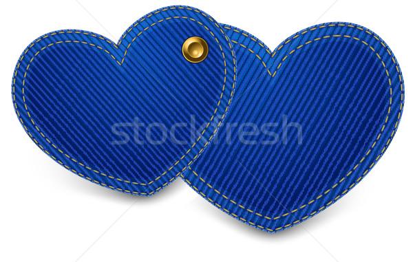 Stock photo: Denim hearts on white