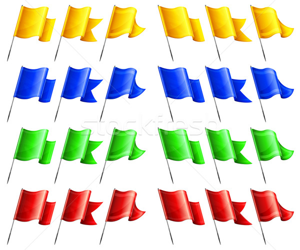 Dikdörtgen biçiminde bayraklar ayarlamak renk Metal bayrak direği Stok fotoğraf © creatOR76