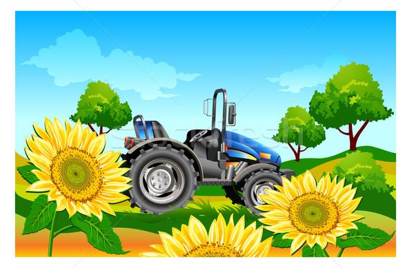 Traktor mező mezőgazdasági gép sötét kék Stock fotó © creatOR76