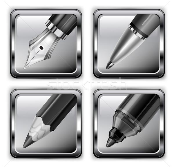 Square pen icons Stock photo © creatOR76