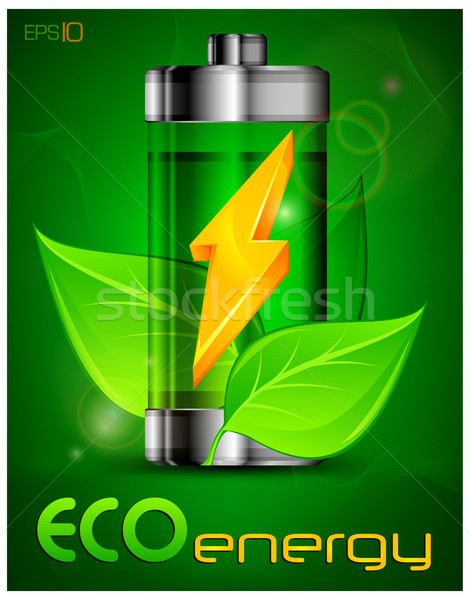 Battery with leaves Stock photo © creatOR76