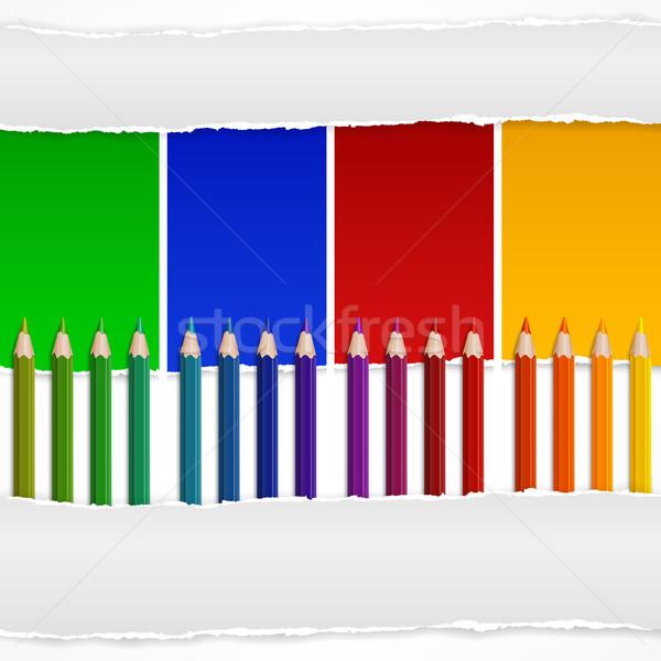 Quattro colore matite carta strappata business scuola Foto d'archivio © creatOR76