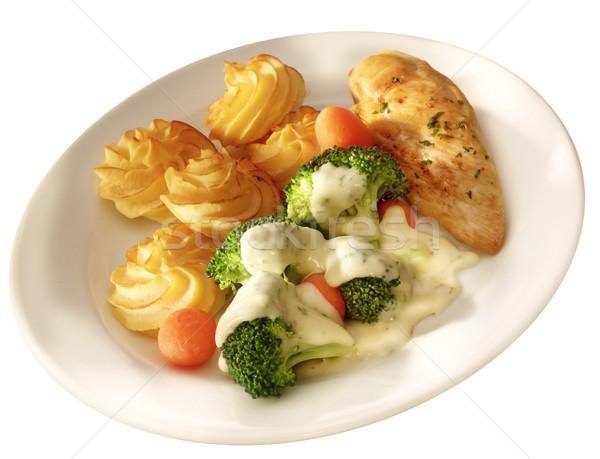 Tavuk göğsü menü plaka patates akşam yemeği öğle yemeği Stok fotoğraf © crisp