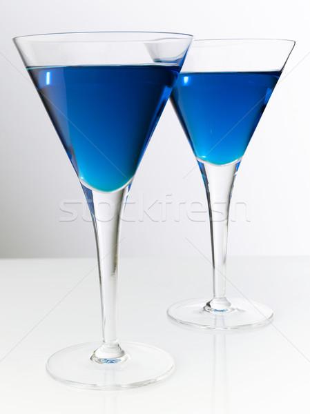 Iki kokteyller mavi kokteyl cam parti Stok fotoğraf © crisp