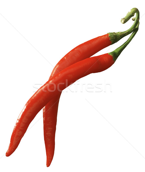 Vermelho pimenta dois pimentas isolado branco Foto stock © crisp