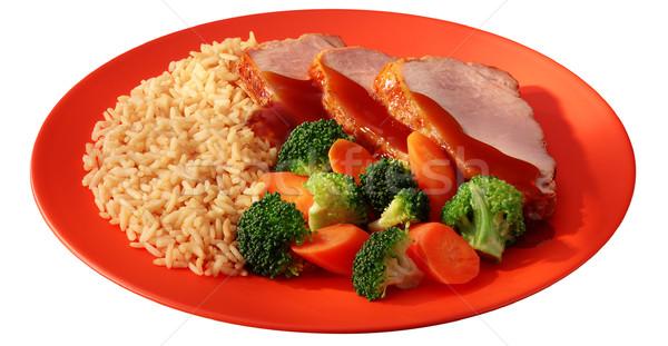 Güzel yemek brokoli pirinç öğle yemeği sebze Stok fotoğraf © crisp