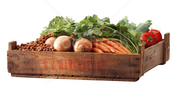 Skrzynia brązowy fasola Unii pomidorów por Zdjęcia stock © crisp