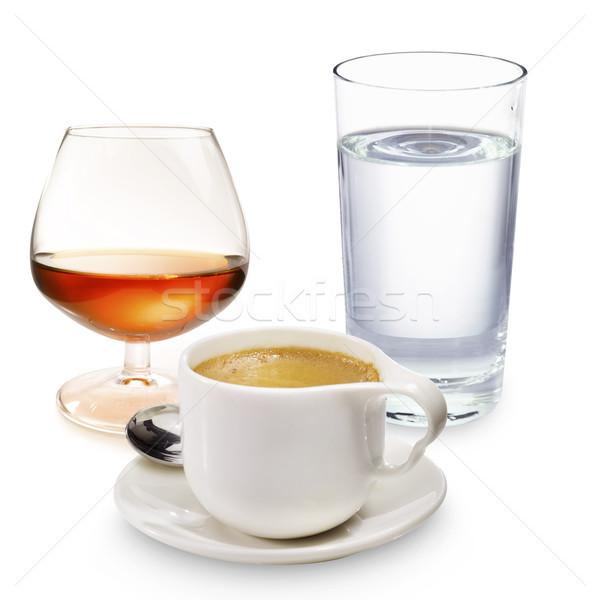 Kávé likőr üveg víz eszpresszó Stock fotó © crisp