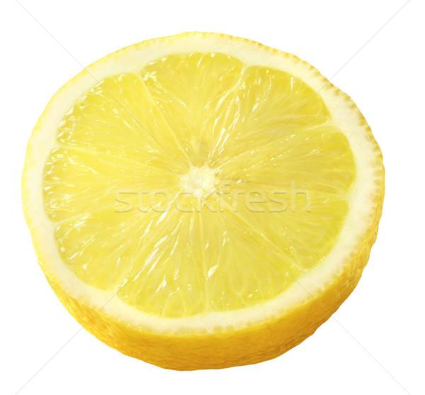 Limon yarım kesmek yalıtılmış beyaz sarı Stok fotoğraf © crisp