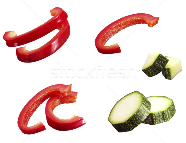 Sliced bell pepper and courgette Stock photo © crisp