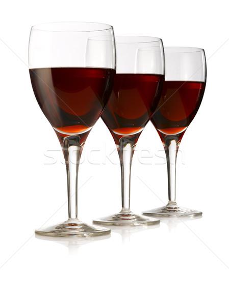 üç gözlük zarif şarap bardakları cam Stok fotoğraf © crisp