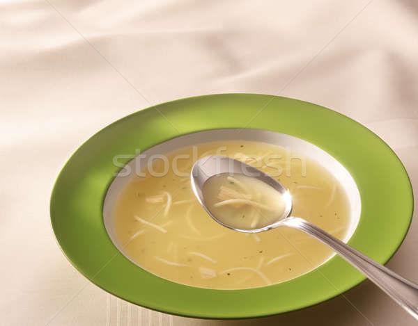 Sıcak çorba yeşil plaka tablo kaşık Stok fotoğraf © crisp