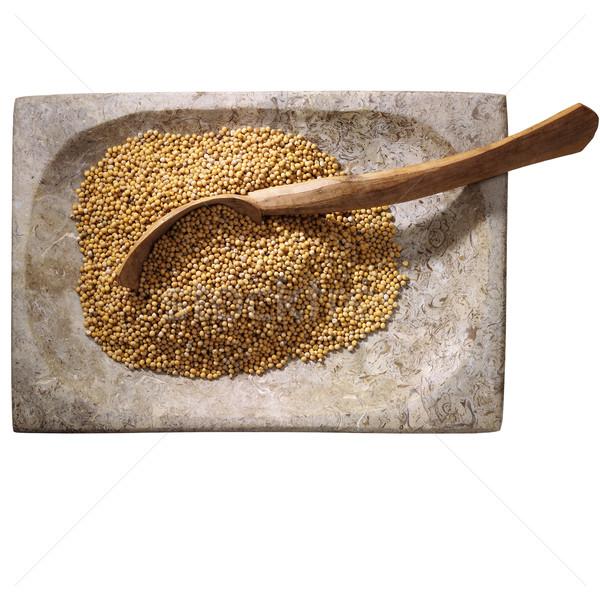 Hardal tohum taş çanak beyaz gıda Stok fotoğraf © crisp