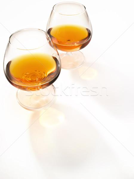 Dwa okulary koniak szkła świetle środowiska Zdjęcia stock © crisp