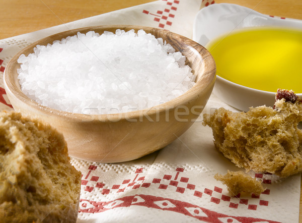 Tuz zeytinyağı ekmek kaya doğa deniz Stok fotoğraf © crisp