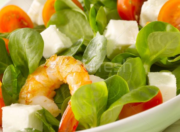 креветок Салат зеленый обеда томатный свежие Сток-фото © crisp