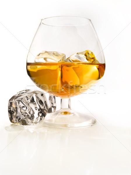 Brandy rochas vidro conhaque gelo luz Foto stock © crisp