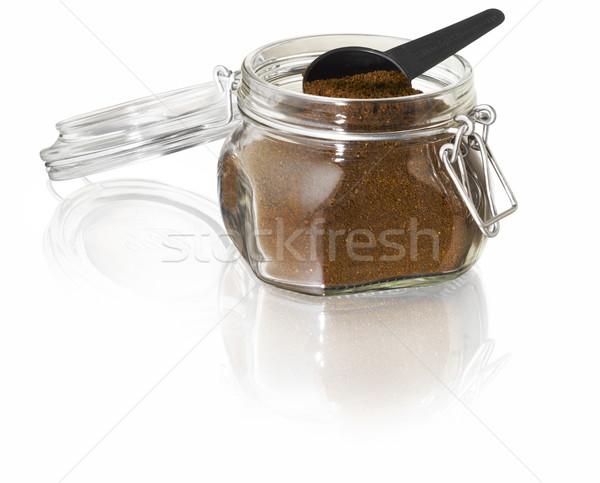 Kahve kavanoz cam kaşık yansıma fasulye Stok fotoğraf © crisp