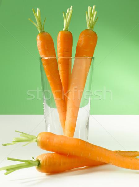 Zanahorias vidrio tres verde fondo zanahoria Foto stock © crisp