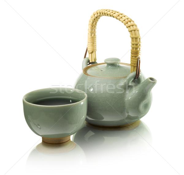 Yeşil çay pot Stok fotoğraf © crisp