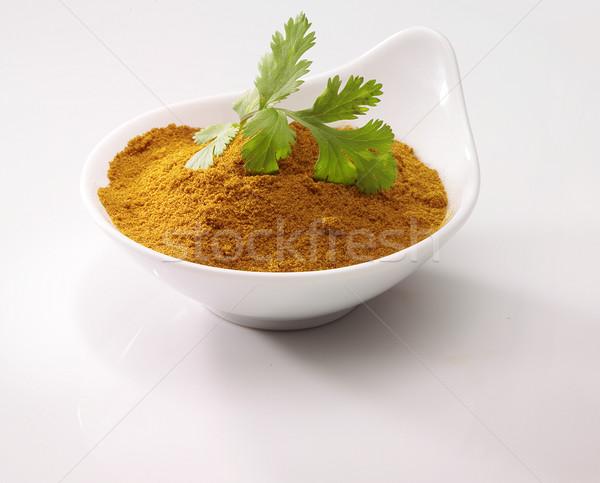 Coentro caril tigela folha branco cozinhar Foto stock © crisp