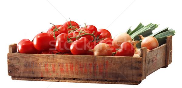 Madeira verde tomates saudável união Foto stock © crisp